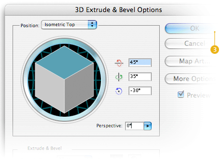 extrude and bevel dialog